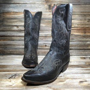 Lucchese Black Leather Western Boots Men 11 2E